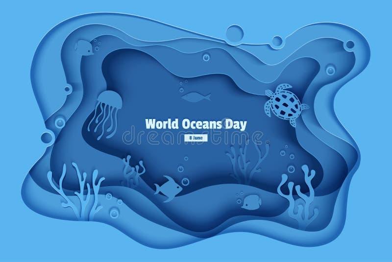 Mundo oceanos dia o 8 de junho Caverna subaquática com peixes, recife de corais do mar do ofício de papel, fundo do mar nas algas ilustração stock