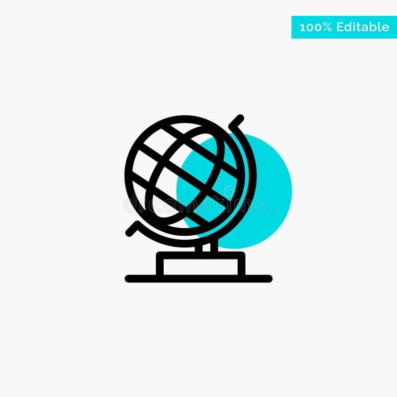 Mundo, oficina, globo, icono del vector del punto del círculo del punto culminante de la turquesa de la web ilustración del vector