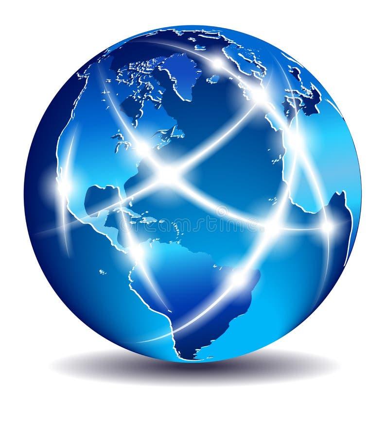 Mundo que mostra uma comunicação através dos continentes ilustração do vetor