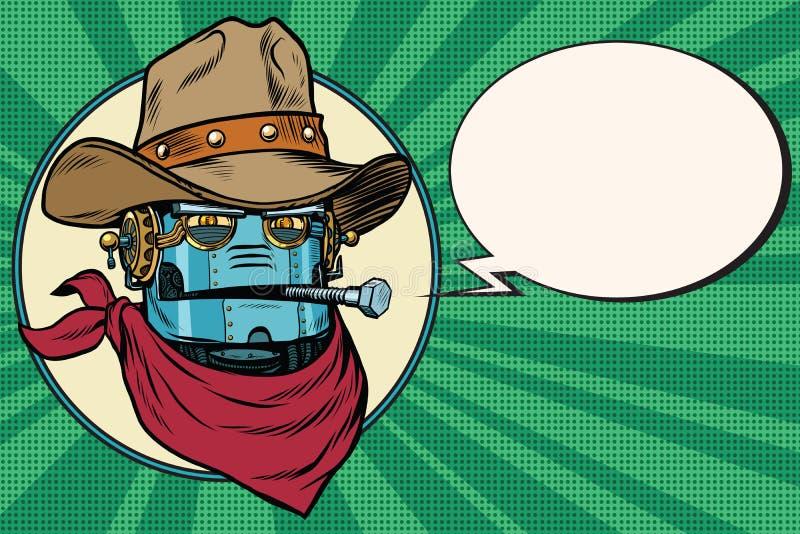 Mundo salvaje de West del vaquero del robot stock de ilustración