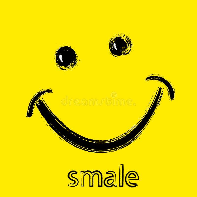 Mundo sonrisa día 6 de octubre Sonrisa, ojos pintados a mano con el cepillo en fondo amarillo ilustración del vector