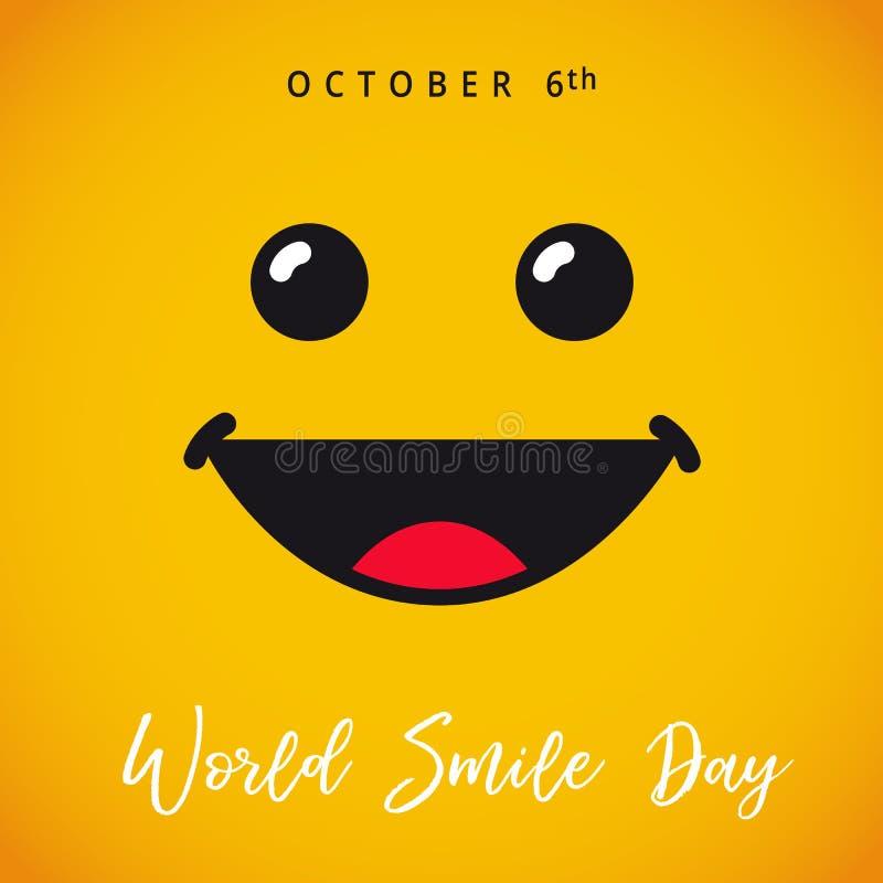 Mundo sonrisa día tarjeta del 6 de octubre libre illustration