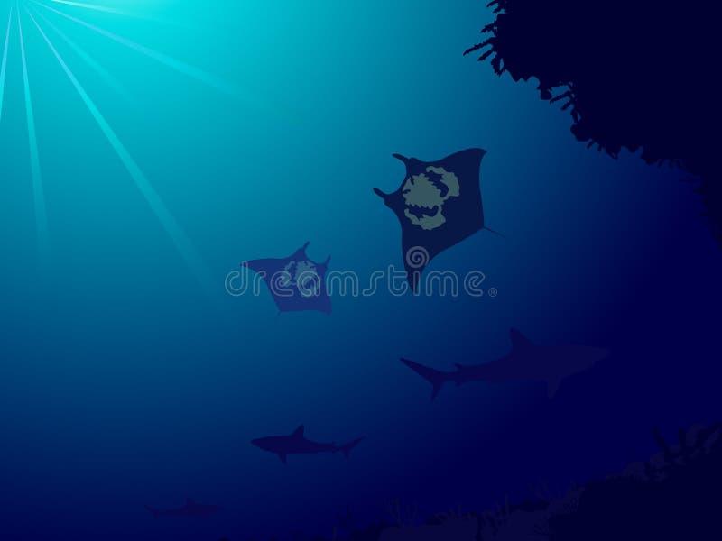 Mundo subacuático con el filón coralino, los tiburones y manta libre illustration