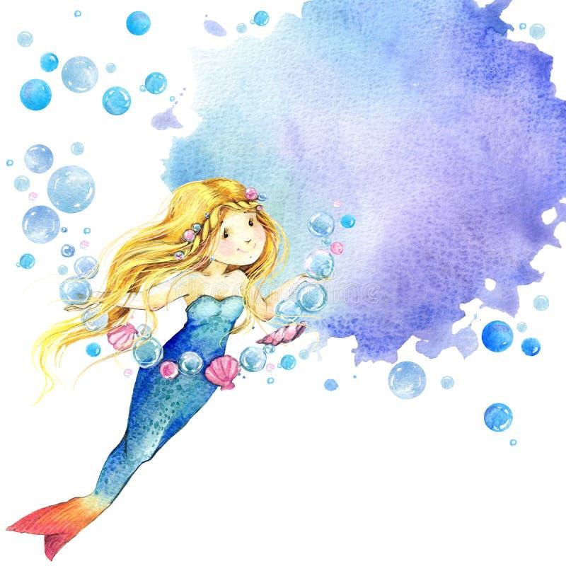 Mundo subacuático Ejemplo de la acuarela de la sirena para los niños ilustración del vector
