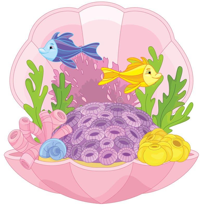 Mundo subaquático com peixes ilustração stock