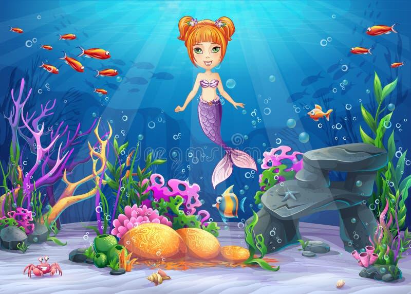 Mundo subaquático da ilustração dos desenhos animados do vetor ilustração do vetor