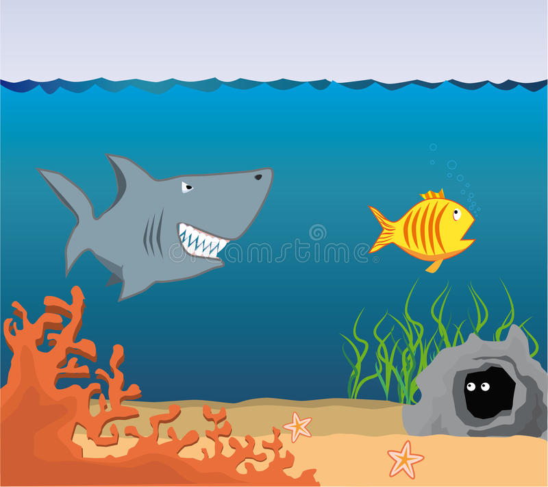 Mundo subaquático dos desenhos animados. ilustração stock
