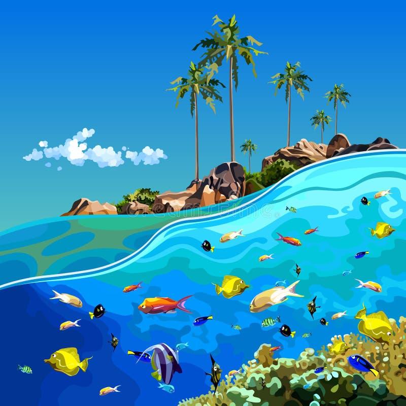 Mundo subaquático dos desenhos animados perto de uma ilha tropical ilustração stock