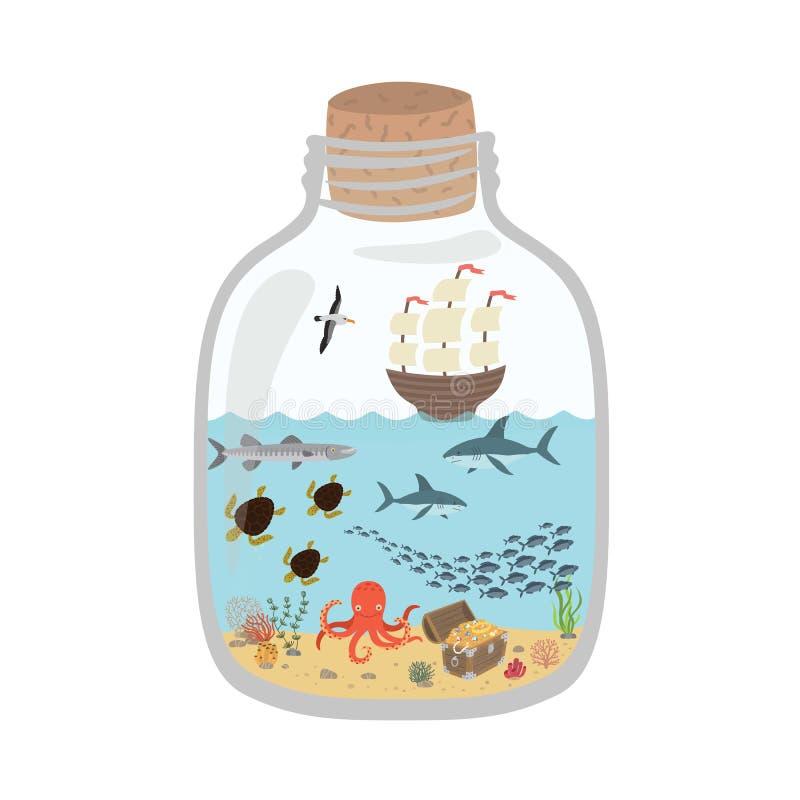 Mundo subaquático em uma garrafa, peixe dos desenhos animados, tubarões, tartarugas, polvo, arca do tesouro, navio ilustração royalty free