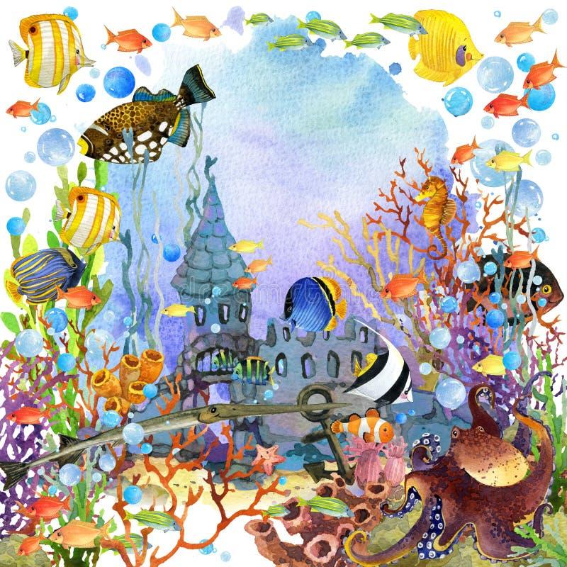 Mundo subaquático ilustração da aquarela dos peixes do recife de corais ilustração stock