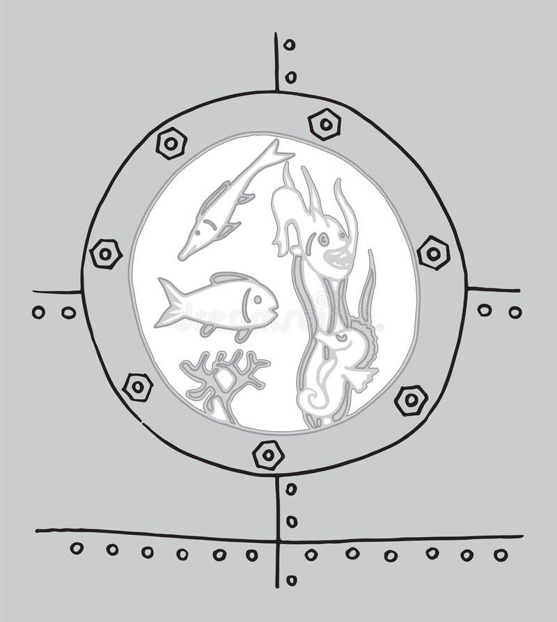Mundo subaquático no iluminador do bathyscaphe ilustração do vetor
