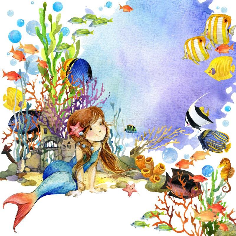 Mundo subaquático Recife de corais da sereia e dos peixes ilustração da aquarela para crianças ilustração do vetor