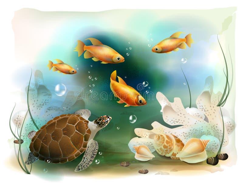 Mundo subaquático tropical ilustração stock