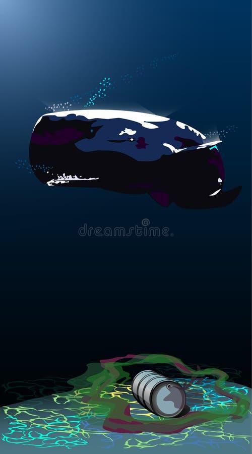 Mundo submarino, esperma-baleia, desperdícios submarinos ilustração royalty free