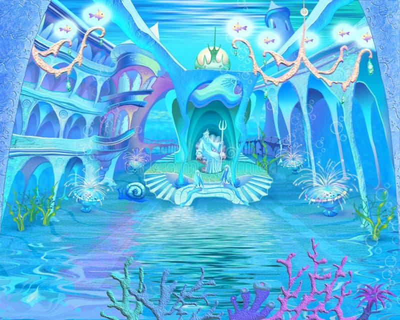 Mundo submarino misterioso e da fantasia Castelo subaquático Interio ilustração royalty free