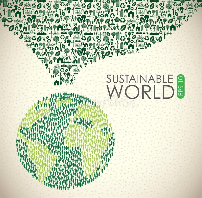 Mundo sustentável ilustração stock