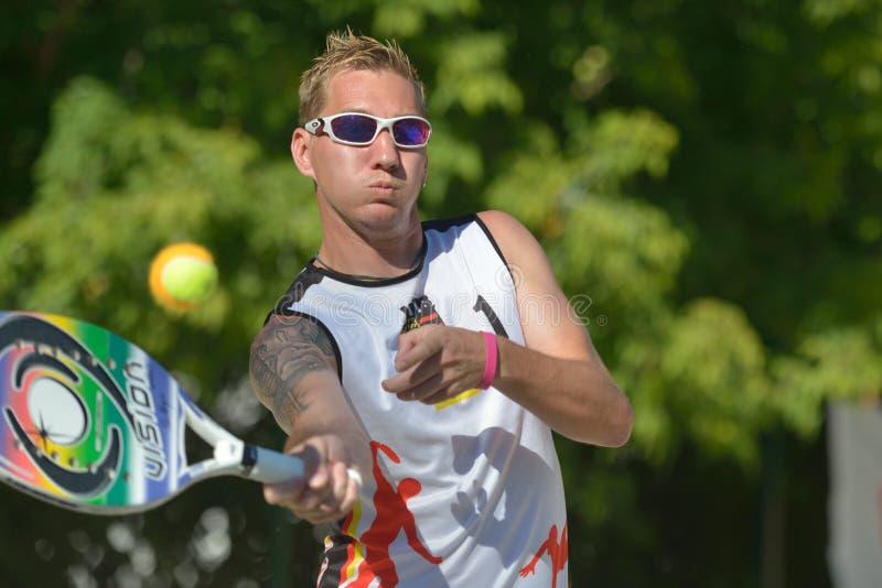 Mundo Team Championship 2014 del tenis de la playa imagen de archivo