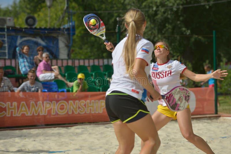 Mundo Team Championship 2014 del tenis de la playa fotografía de archivo