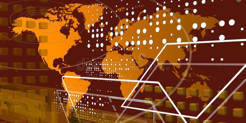 Mundo teccnological fresco sobre o mapa dourado ilustração royalty free
