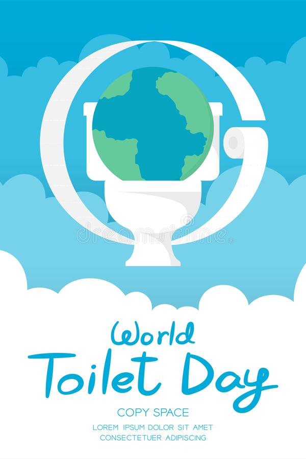 Mundo toalete dia grupo vertical da bandeira do 19 de novembro, terra sanitária do conceito do problema com ilustração do toalete ilustração royalty free