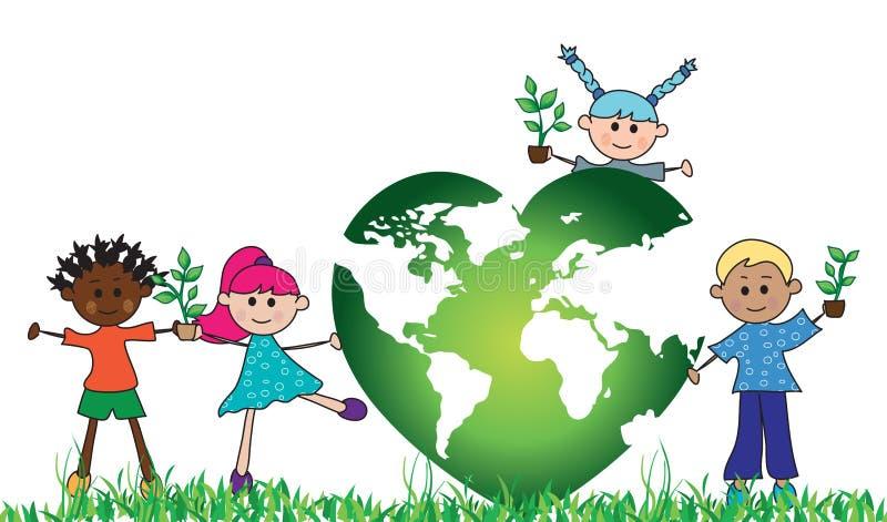 Mundo verde com crianças ilustração royalty free