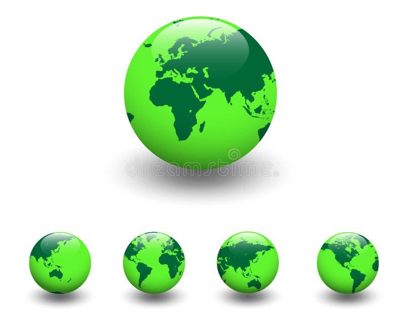 Mundo verde, globo de la tierra. ilustración del vector