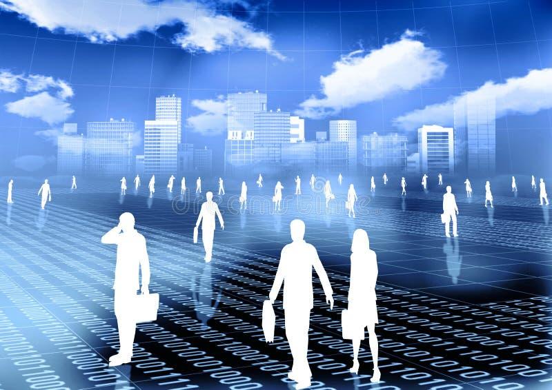 Mundo virtual do negócio do Internet ilustração stock