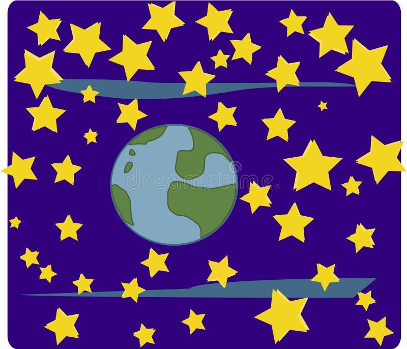 Mundo y estrellas (espacio) fotografía de archivo