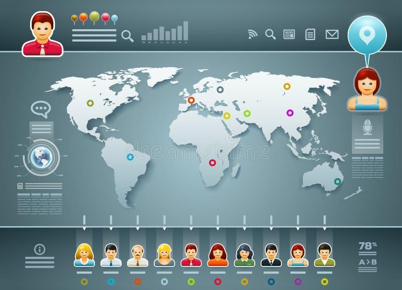 Mundo y gente Infographics ilustración del vector