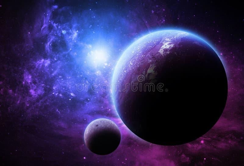 Mundos roxos - elementos desta imagem fornecidos pela NASA ilustração stock