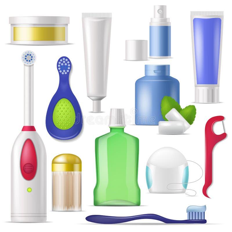 Mundpflegevektorzahnbürste und -zahnpasta mit Mundwasser für Reinigungszahnillustrations-Zahnheilkundesatz von zahnmedizinischem vektor abbildung