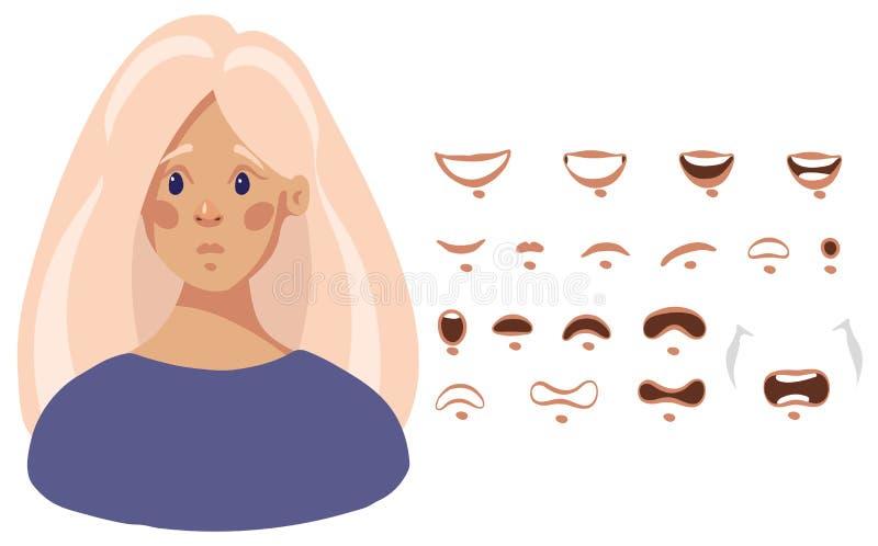 Mundsatz weibliche Zeichentrickfilm-Figur im flachen Entwurf, Vektorillustration lokalisiert auf weißem Hintergrund vektor abbildung