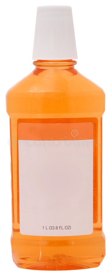 Mundwasser in der Flasche stockfotografie