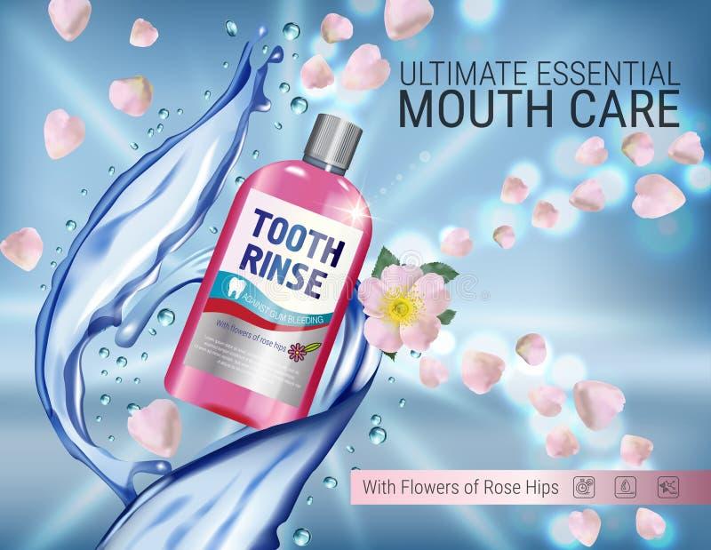 Mundwasseranzeigen Vector Illustration 3d mit Mundwasser in der Flaschen- und Hagebuttenblume stock abbildung
