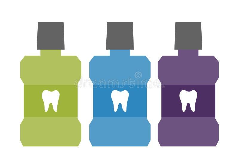 Mundwasserflasche mit einem Zahn auf Aufkleber lizenzfreie abbildung