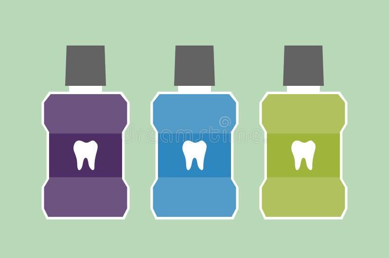 Mundwasserflasche mit einem Zahn auf Aufkleber vektor abbildung