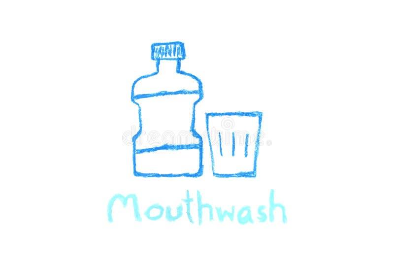 Mundwasserflasche und Glas - Zeichenstiftzeichnung vektor abbildung