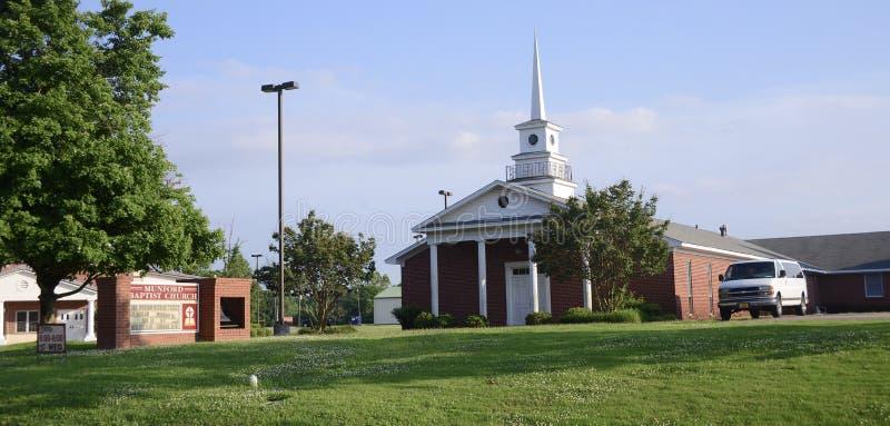 Munford Baptist Church Building, Munford, TN stock afbeeldingen