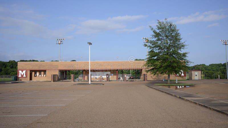 Munford High School Sports Field, Munford TN. Munford High School Sports Field and Stadium, Munford TN, the school`s location since 1983 is 1080 McLaughlin Drive stock photo