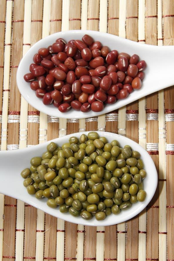 Mung and azuki beans stock photography