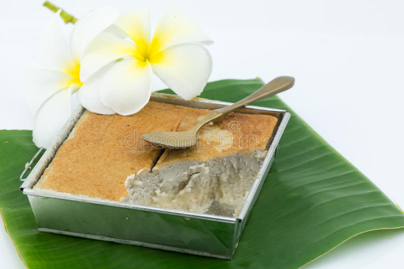 Mung Bean Thai Custard Dessert Recipe (Khanom-Schlund Kaeng) stockfoto