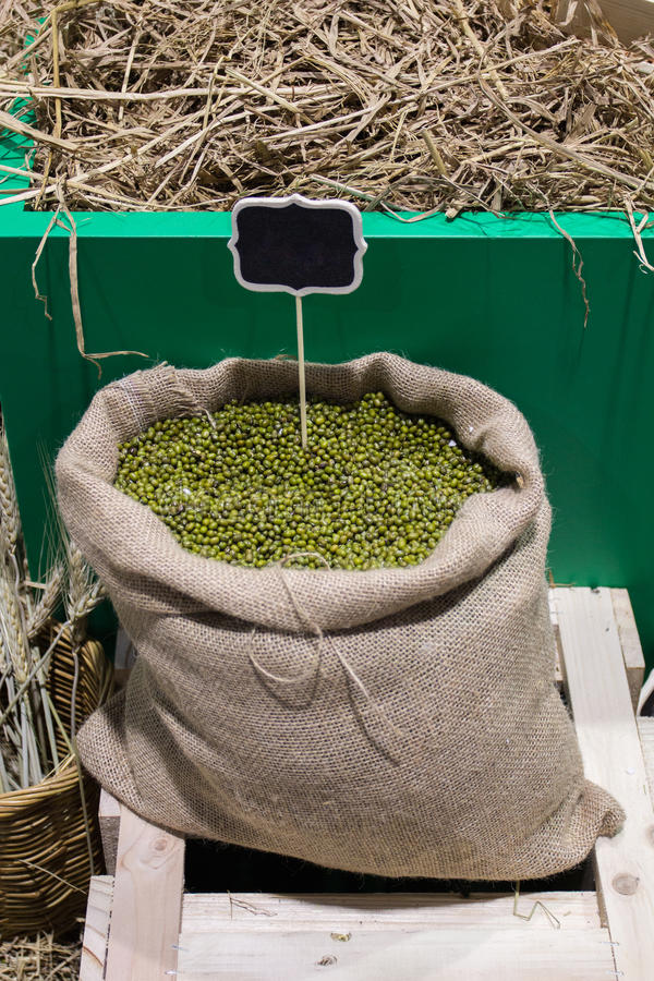 Mung beans in bag. stock photo