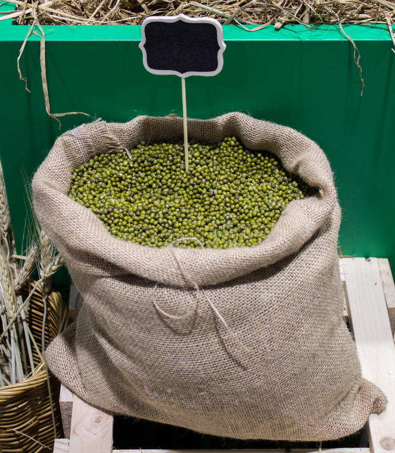 Mung beans in bag. royalty free stock photography