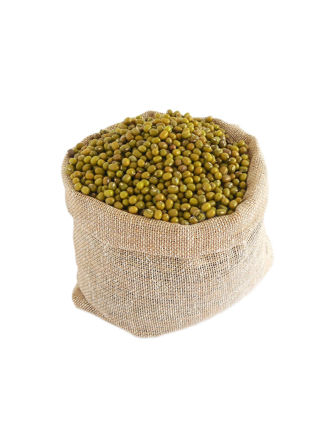 Mung Beans. In a gunny sack royalty free stock photos