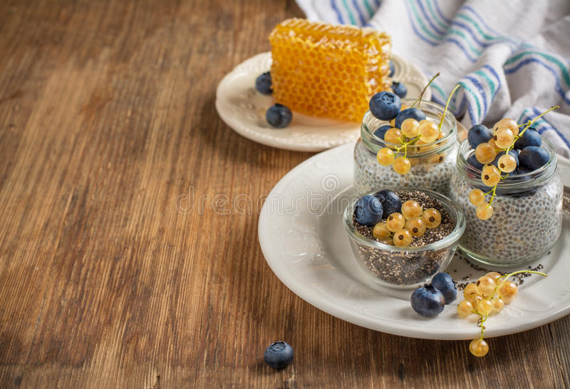 Munga il budino con i semi di chia, mirtilli e fotografie stock