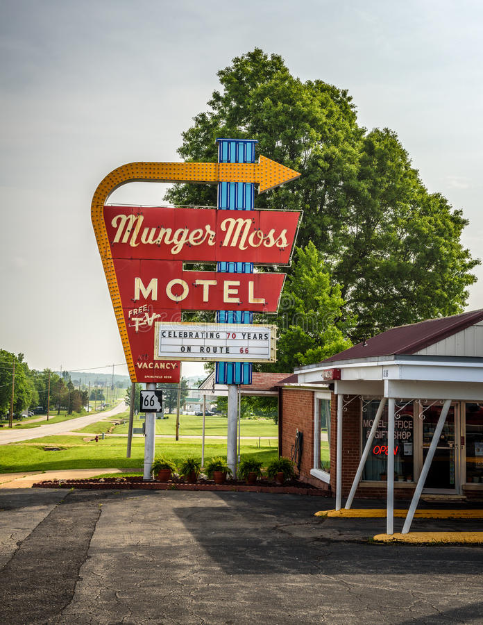 Munger Moss Motel sur l'itinéraire 66 au Missouri images libres de droits