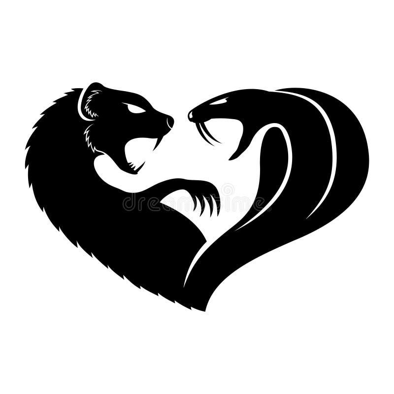 Mungor och kobra stock illustrationer