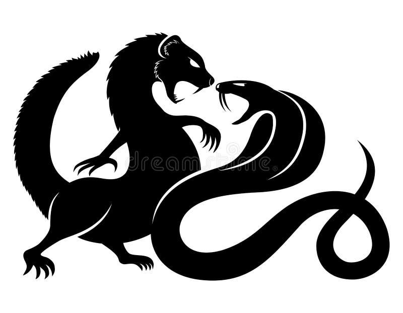 Mungor och kobra royaltyfri illustrationer