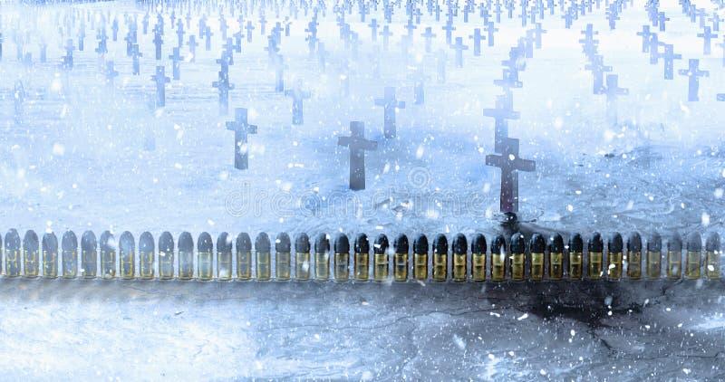 A munição de bronze com as balas de uma ligação enfileira em um cemitério com concentrado fotos de stock