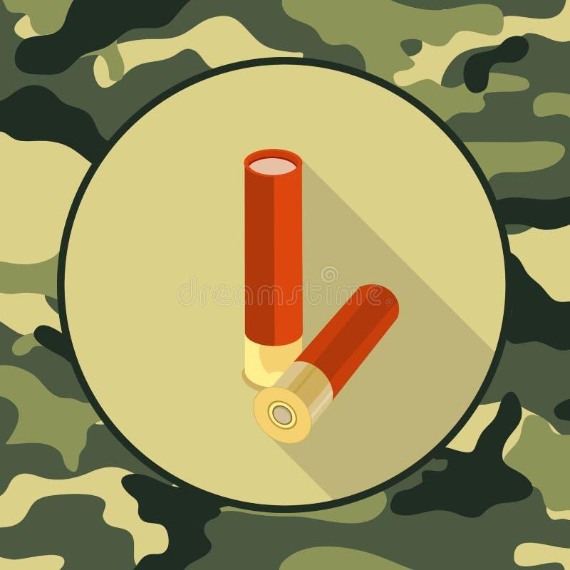 Munição lisa do ícone, artigo na camuflagem ilustração royalty free